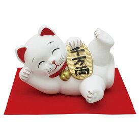 「特大 ゴロニャン 小判 敷物付」素焼き陶製 猫の人形・ネコの置物・ねこの和雑貨