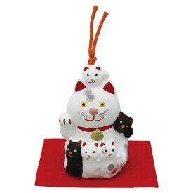 「土鈴 子福猫 敷物付」素焼き陶製 猫の人形・ネコの置物・ねこの和雑貨