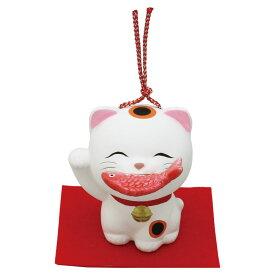 「土鈴 福くわえ猫(鯛) 敷物付」素焼き陶製 猫の人形・ネコの置物・ねこの和雑貨