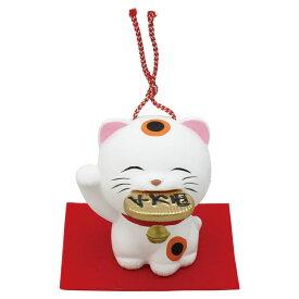 「土鈴 福くわえ猫(小判) 敷物付」素焼き陶製 猫の人形・ネコの置物・ねこの和雑貨