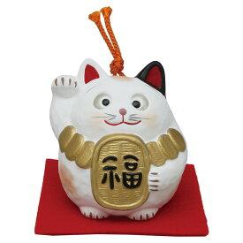 「土鈴 金運キャット (小判) 敷物付」素焼き陶製 猫の人形・ネコの置物・ねこの和雑貨