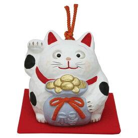 「土鈴 金運キャット (宝袋)敷物付」素焼き陶製 猫の人形・ネコの置物・ねこの和雑貨