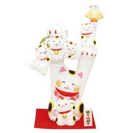 「鈴なり両手招き猫 敷物付」素焼き陶製 猫の人形・ネコの置物・ねこの和雑貨
