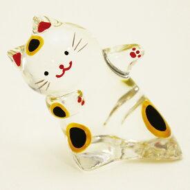 5%OFF クーポン クリスタルのぞきシリーズ ブチ猫ガラス細工 夏の風物詩 置物 人形