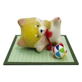 「ちぎり和紙 ごろ柴(しば犬)  寝おち 敷物付」手作りちぎり和紙細工 夏の風物詩 置物 人形 和みの和雑貨