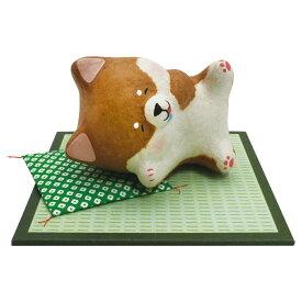 「ちぎり和紙 ごろ柴(しば犬)  おいしい夢 敷物付」手作りちぎり和紙細工 夏の風物詩 置物 人形 和みの和雑貨