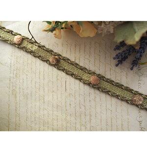 ぽんぽん付きブレード(モスグリーン)50センチ チロル テープ リボン カルトナージュ 素材 材料 縁取り かわいい おしゃれ アンティーク