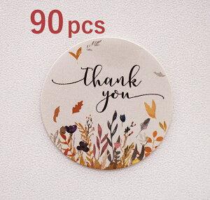 【90枚入】ありがとうシール サンキュー【ブラウン】 THANKYOU ありがとう ステッカー ショップ用 お客様 店舗 プレゼント雑貨 クッキー 結婚式 ハンドメイド プチギフト 封 小物 発送 誕生日