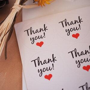 【36枚入】ありがとうシール ハート サンキュー ハンドメイドTHANKYOU ありがとう ステッカー ショップ用 店舗 プレゼント雑貨 結婚式 ハンドメイド プチギフト 封 小物 梱包 資材 ホワイト