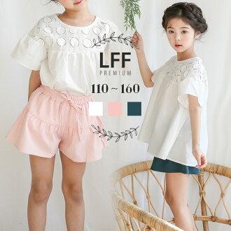 供Enyakids童裝女人的孩子短褲棉布白粉紅綠色110-160cm褲子小孩女孩子小孩服兒童服裝短褲褶邊夏季服裝小孩使用