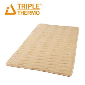 暖かい 敷きパッド トリプルサーモ3 セミダブル 吸湿発熱 敷きパッド あったか 日本製 綿 洗える 吸汗速乾 オレンジ