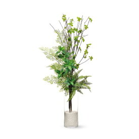 【39ショップ】【送料無料ライン対応】インテリア フェイクグリーン 人工観葉植物 造花ドウダンツツジ×アジアンタム ガラスシリンダー H35 GREENPARK |