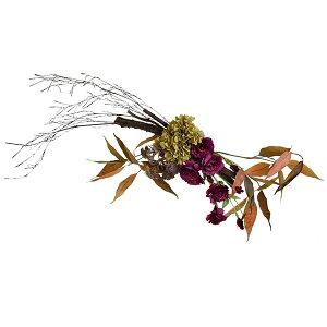 白樺とトルコキキョウの壁掛け造花 アーティフィシャルフラワー PRIMA   季節の花 贈り物 プレゼント ウォールデコ スワッグ シーズンアレンジメント おしゃれ エントランス リビング