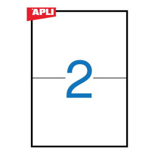 APLI アプリ コピー機対応 A4ラベル 2面(210x148mm) 100枚 (AP-02435)【粘着ラベル ラベルシール ステッカ プリンタラベル 海外文房具 デザイン文房具 文房具かわいい OA用紙 オフィス事務用品 プリン