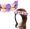 花冠 花かんむり フラワー ヘッド ドレス ( ピンク & パープル ) 女 女の子 レディース 花冠 花 かんむり フラワー …