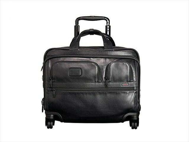 【スペシャル】トゥミ アルファ デラックス ホイール レザー Tumi Alpha 2 4 Wheeled Deluxe Leather Brief with Laptop Case black [並行輸入品]