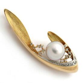 南洋パールダイヤモンドブローチ K18/Pt900 南洋真珠 11.4mm ダイヤモンド 0.30ct