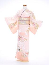 【レンタル】訪問着 ピンク 牡丹の雲取り 女性 20代 結婚式 七五三 入学卒業 お宮参り 化繊 kt6155