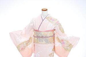 訪問着レンタル訪問着kt6155ピンク色薔薇胡蝶蘭