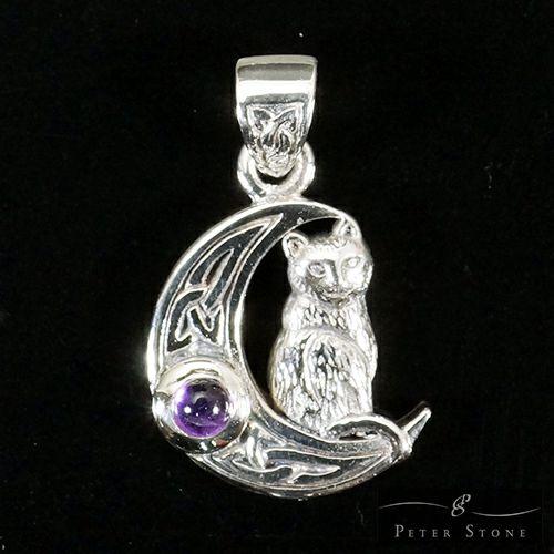 【PETER STONE】月猫 クレセントムーン・キャット(ネコ) 三日月 アメジスト セルティック模様 シルバー ペンダントトップ|幸運の猫|シルバー925【メール便対応可】