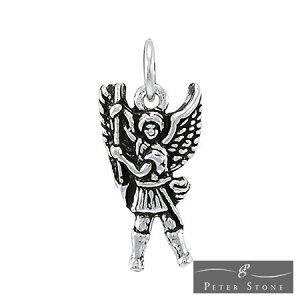 【PETER STONE】大天使ミカエル スターリングシルバー チャーム ペンダントトップ ミニ|エンジェル|4大天使|シルバー925【メール便対応可】