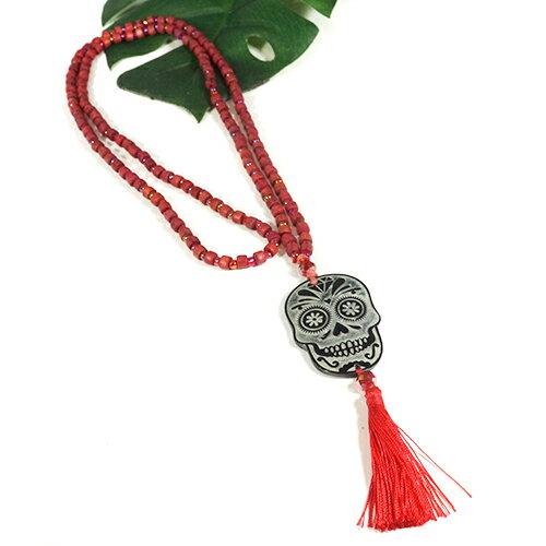 メキシコ シュガースカル(ドクロ)シェル 彫刻 ネックレス レッド(赤) 70cm|メキシカンスカル|カラベラ|死者の日【メール便対応可】
