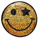 ワッペン スパンコールワッペン アイロン接着 縦8cm×横8cm スマイル smile にこちゃん ニコちゃん アイロンワッペン …