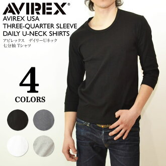 AVIREX daily U neck three-quarter sleeves T-shirt inner mens shirt fs2gm