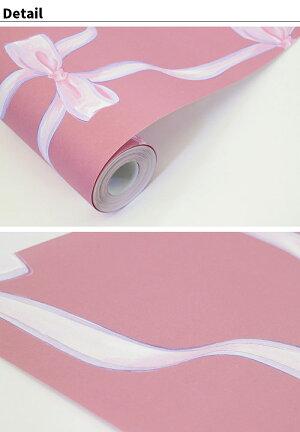 takemika壁紙WrappingribbonラッピングリボンJebrille(ジュブリー)日本製フリースデジタルプリント壁紙不織布デジタルプリント壁紙【46cmx1m単位のカット販売(数量1で1m)】レディース可愛いオシャレ
