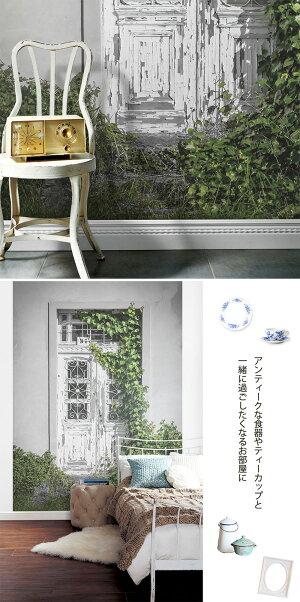 Jebrilleジュブリー壁紙Belleporteベルポルト日本製フリースデジタルプリント壁紙不織布壁紙フリース壁紙貼ってはがせる壁紙DIY壁紙【184cmx250cm】【送料無料】シャビー木目扉植物グリーンフランスクラシカル