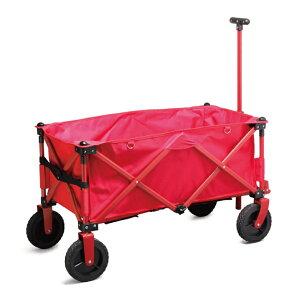 アウトドアワゴン キャンプワゴン キャリーカート キャリーワゴン レッド 耐荷重100kg 4輪 折畳み 折りたたみ コンパクト収納 マルチキャリー アウトドアキャリー アウトドア キャンプ バー