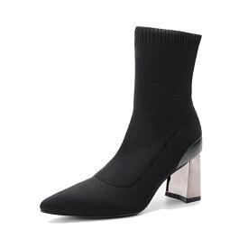 ブーツ ショートブーツ ソックスブーツ ヒール スクエアヒール チャンキーヒール 太ヒール ウェッジ クリア レディース 厚底 クリアソール ヒール