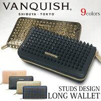 【送料無料】財布レディース長財布VANQUISHヴァンキッシュスタッズデザインラウンドファスナーウォレットVQL-90010