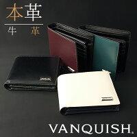 【送料無料】財布メンズ二つ折り財布VANQUISHヴァンキッシュ牛革ルストロクアドラ二つ折り札入れベラ付本革製小銭入れありVQM-41070