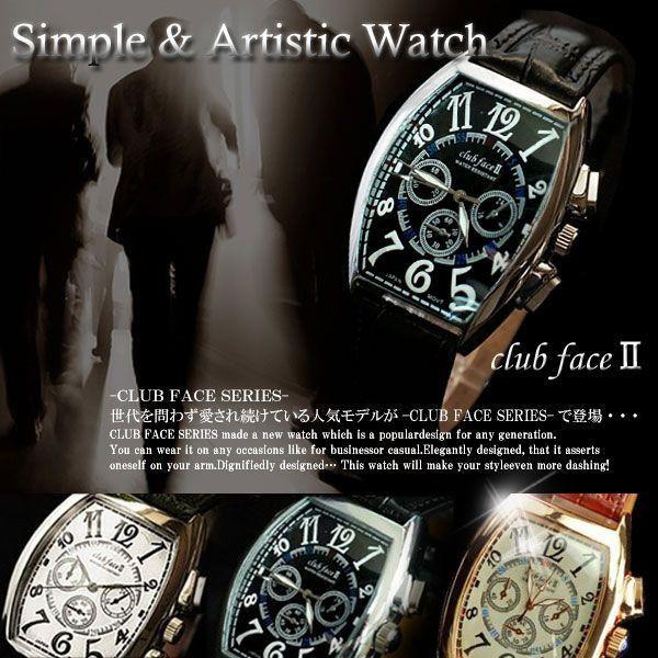 【3/26 1:59までポイント10倍】腕時計 メンズ 革 腕時計 メンズ腕時計 クラブフェイス CF-1047 マルチタイプ 送料無料