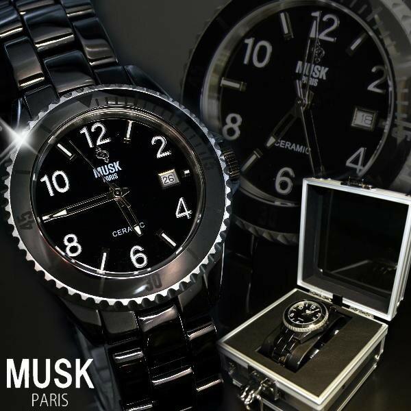 腕時計 メンズ 送料無料 人気 ブランド MUSK ムスクカレンダー機能 フルセラミック MSF2502205 MSF2502203