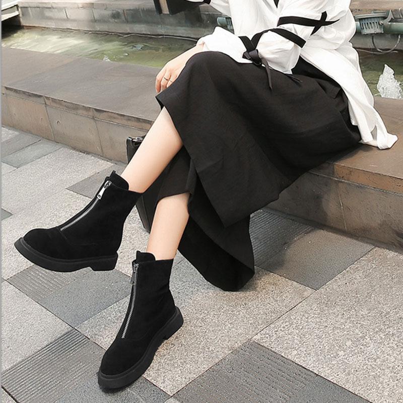 並行輸入品【PLAY BOY】ショートブーツ スエード調 スムース ジッパー クール カッコイイ おしゃれ カジュアル ヒール2.5cm 黒 ブラック グレー レディース 女性靴