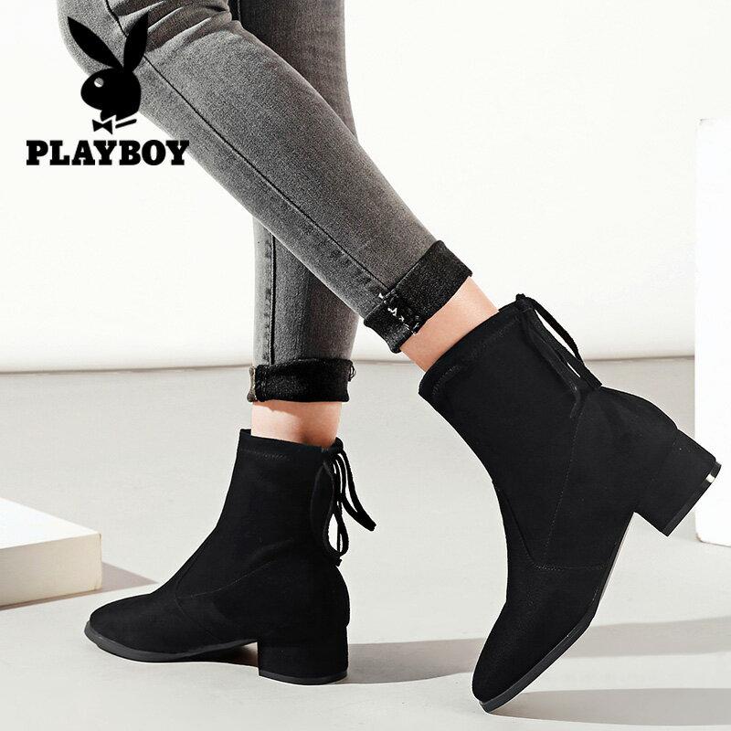 並行輸入品【PLAY BOY】スエード調 ショートブーツ リボン カジュアル ヒール4cm 歩きやすい 黒 ブラック レディース 女性靴