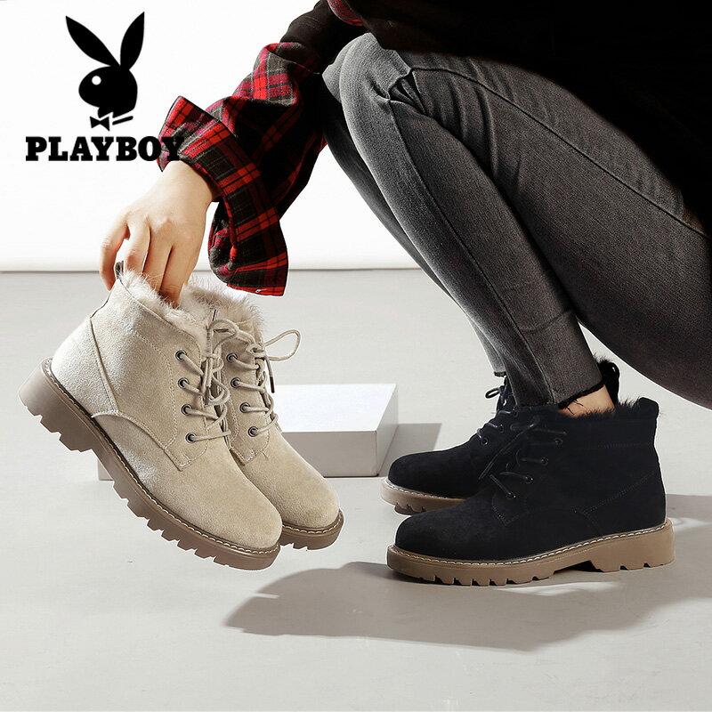並行輸入品【PLAY BOY】ショートブーツ ワークブーツ スエード調 フェイクファー カジュアル 可愛い ヒール3.5cm 黒 ブラック ベージュ レディース 女性靴