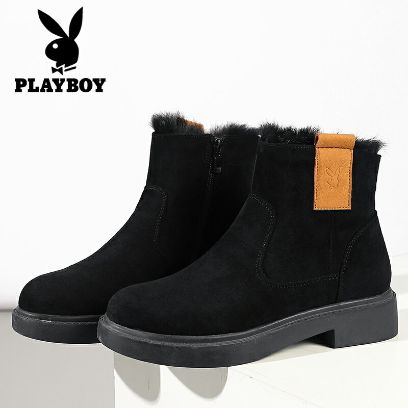 並行輸入品【PLAY BOY】ショートブーツ スエード調 フェイクファー カジュアル ヒール3.5cm 歩きやすい 黒 ブラック レディース 女性靴