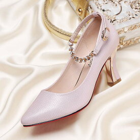 レディース パンプス ヒール7.5cm ラインストーン ストラップ 可愛い 結婚式 パーティー デート 女子会 フォーマル 華やか 大きいサイズ 小さいサイズ 歩きやすい ホワイト 白 ピンク シューズ 女性靴[Rucopis]