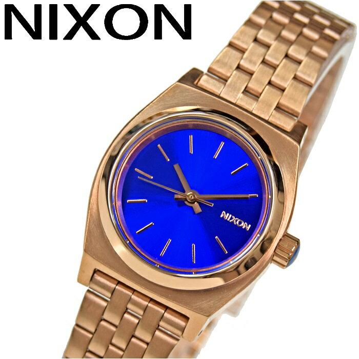 腕時計 ニクソン スモールタイムテラーA399-1748 ブルー×ピンクゴールド レディース 時計