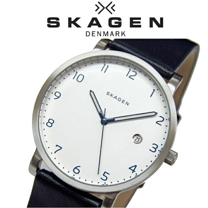 スカーゲン SKAGEN時計 腕時計 メンズレザー ホワイト ブラック SKW6335