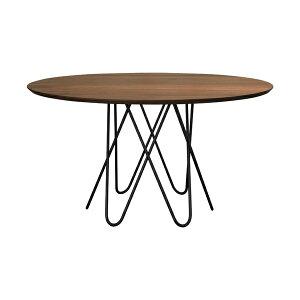 アウレリア ダイニングテーブル ウォールナット(オイル仕上げ)脚:アイアン(クリア紛体塗装) 天板厚:26mm(テーパーカット)サイズ:φ1200〜1800×H720mm