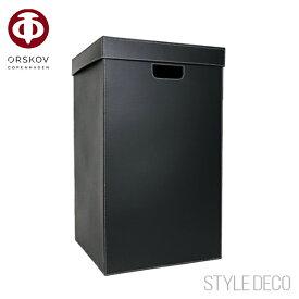 【送料無料】オルスコフ ランドリー ボックス ブラック レザーベジタブルタンニン ホワイトステッチ全体サイズ:W370×D370×H620mm原産国:デンマークORSKOV LANDRY BOXESシンプル デザイン ブラックインテリア 収納