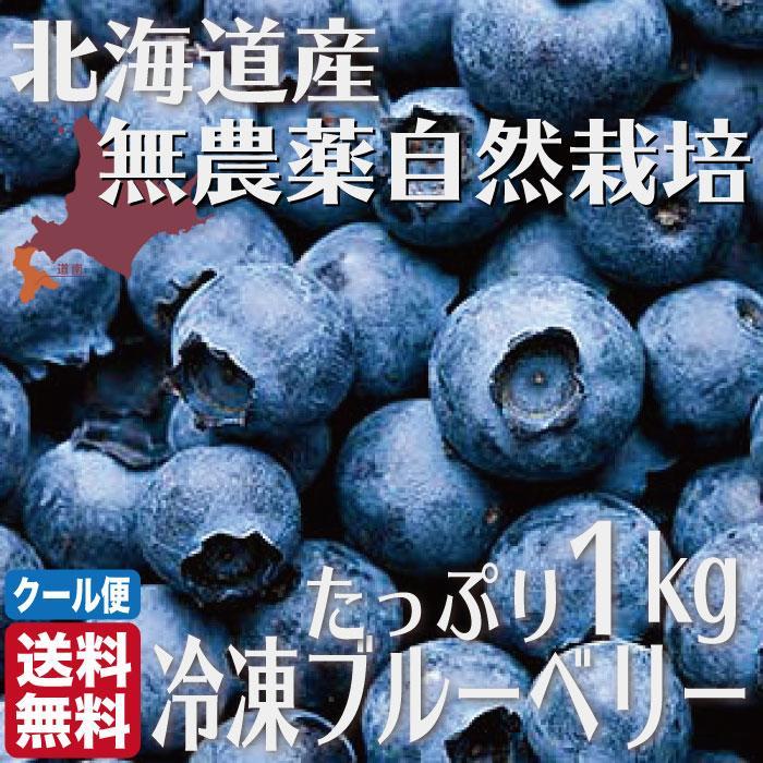 無農薬 冷凍 ブルーベリー 1kg (1kg×1袋) 北海道 北斗 自然栽培 原料 送料無料 産地直送 ハウレット農園