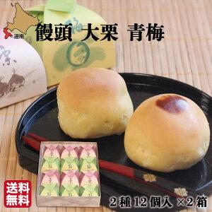 饅頭 大栗 青梅 12個(各6)×2箱 函館 菓々子(かかし) 北海道 和菓子 法事 おまとめ買い