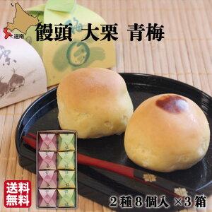 饅頭 大栗 青梅 8個(各4)×3箱 函館 菓々子(かかし) 北海道 和菓子 法事 おまとめ買い