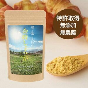 金時しょうが 粉末 100g 【送料無料】国産の金時生姜の種を無農薬栽培し、粉末加工しております。体の冷えにお悩みのあなたに!純粋な金時ショウガの粉末のみを使用!