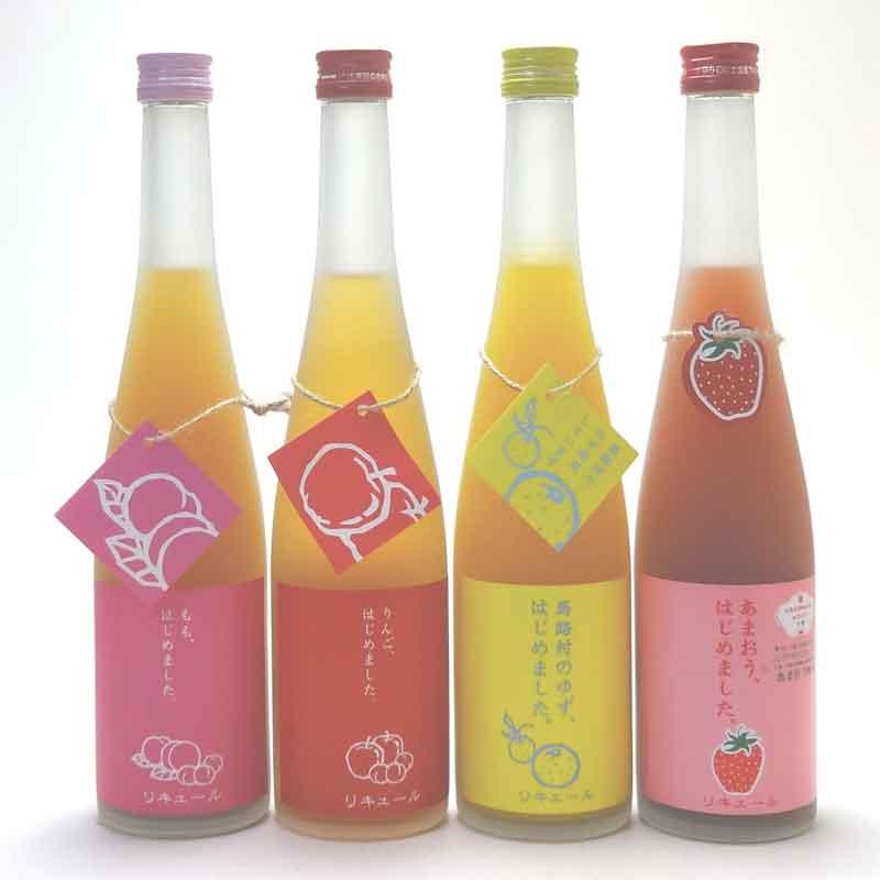 篠崎果物梅酒4本セット もも梅酒 りんご梅酒 ゆず梅酒 あまおう梅酒 ( 福岡県 )500ml×4本